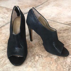 Black peep toe heels.